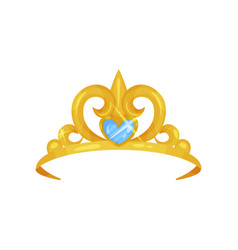 Elegant royal crown decorated with big blue vector