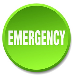 emergency green round flat isolated push button vector image