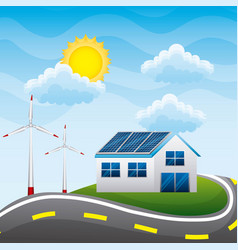 Energy clean - house with windmills panel solar vector