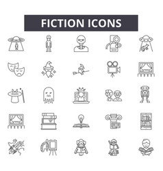 Fiction line icons for web and mobile design vector