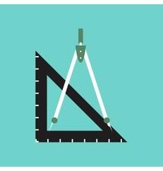 flat icon on stylish background ruler compass vector image