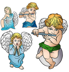 Four angels set vector