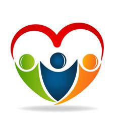 Friendship love heart shape logo design vector