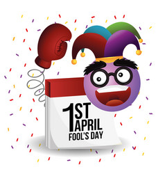 Funny emoji face with boxing glove and calendar vector