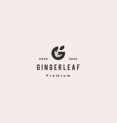 g letter ginger logo hipster retro vintage icon vector image