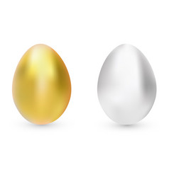 gold and silver eggs isolated vector image