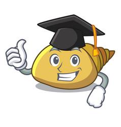 Graduation mollusk shell character cartoon vector