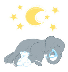 Hand drawn with a cute baby elephant sleeping vector
