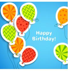 Happy birthday postcard with balloons vector