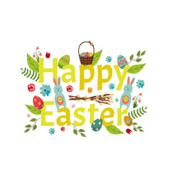 happy easter banner greeting postcard design vector image