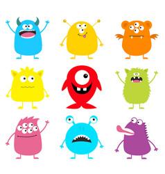 happy halloween cute monster icon set cartoon vector image