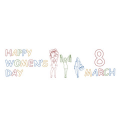 Happy women day horizontal banner 8 march doodle vector