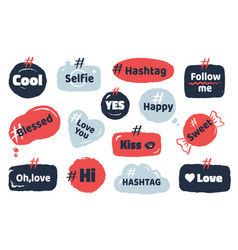 hashtag social banner media slang doodle logos vector image