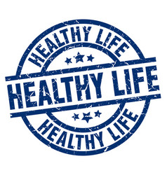 Healthy life blue round grunge stamp vector