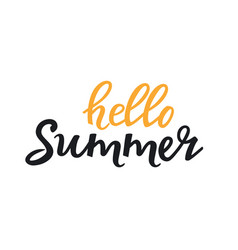 hello summer hand drawn lettering seasonal sale vector image