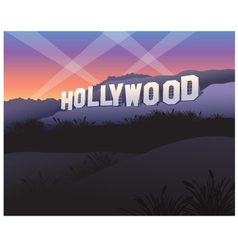 Hollywood Sign at twilight vector