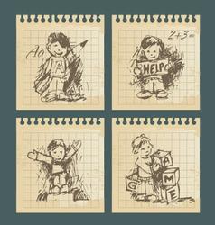 kids - set vintage drawings vector image
