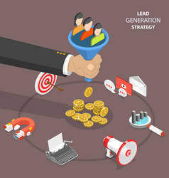Lead generation strategy flat isometric vector