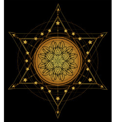 Lotus and sacred geometry ayurveda symbol vector