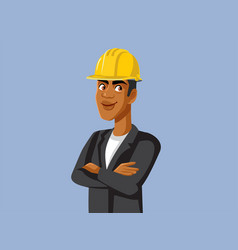 Male contractor wearing hard hat vector