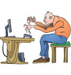 Man on PC vector image