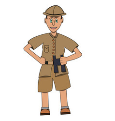 man on safari with binoculars in his hand flat vector image