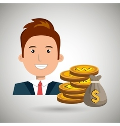 man with bag coins isolated icon design vector image