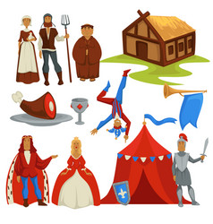 medieval ages peasants and royalty history vector image