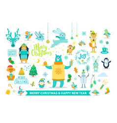 merry christmas and happy new year with animals vector image