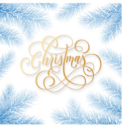 merry christmas holiday hand drawn quote golden vector image