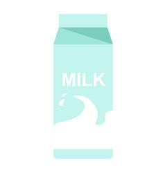 Milk paper pack with milky splash flat vector