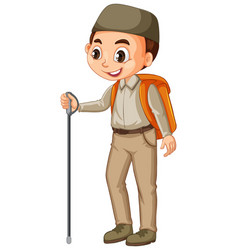 Muslim boy with hiking stick on isolated vector