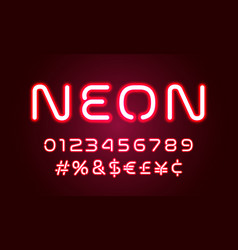 neon light alphabet font numbers and special vector image