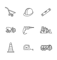 nine under construction icons vector image