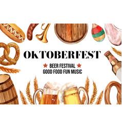 Oktoberfest frame design with beer sausage vector