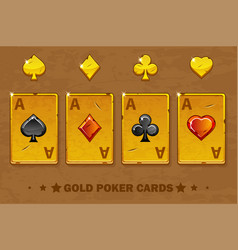 old golden four ace poker playing cards icons for vector image