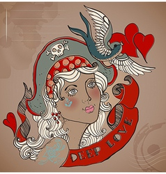 Old-school styled tattoo woman Valentine vector