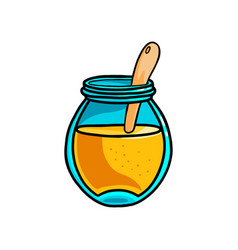 open glass jar with wood spoon fresh sweet vector image
