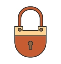 Padlock lock Flat colored icon Object of vector image