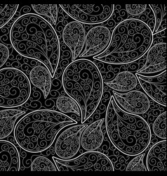 paisleys seamless pattern black floral background vector image