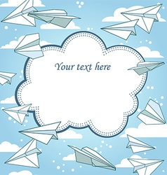 Paper planes frame vector image