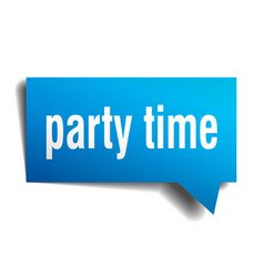 party time blue 3d speech bubble vector image