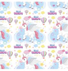 pastel seamless unicorn background vector image