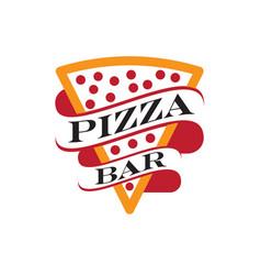 pizza bar or pizza restaurant logo design vector image