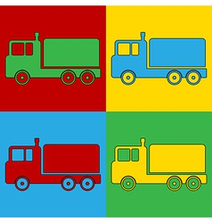 Pop art cargo car icons vector image