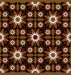 Red and brown moroccan motif tile pattern vector