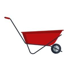 Red flat gardening wheelbarrow isolated on white vector