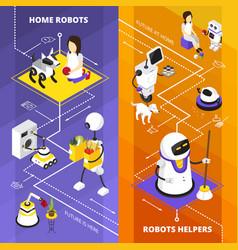 Robots helpers vertical isometric banners vector