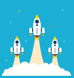 rocket icons startup launch and business vector image