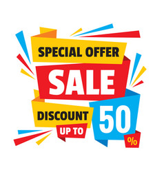 sale discount up to 50 - concept banner vector image